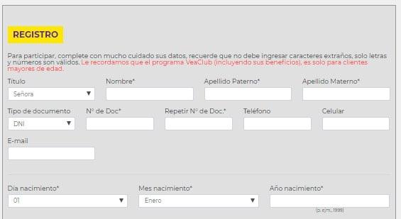 formulario para el registro