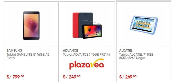 precio de tabletas samsung, advance y alcatel en plazavea