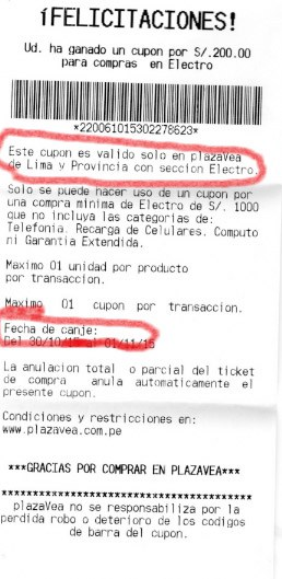 ticket condiciones cupon