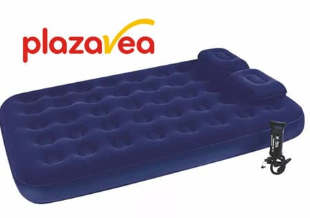 plaza vea colchon inflable + inflador + almohada