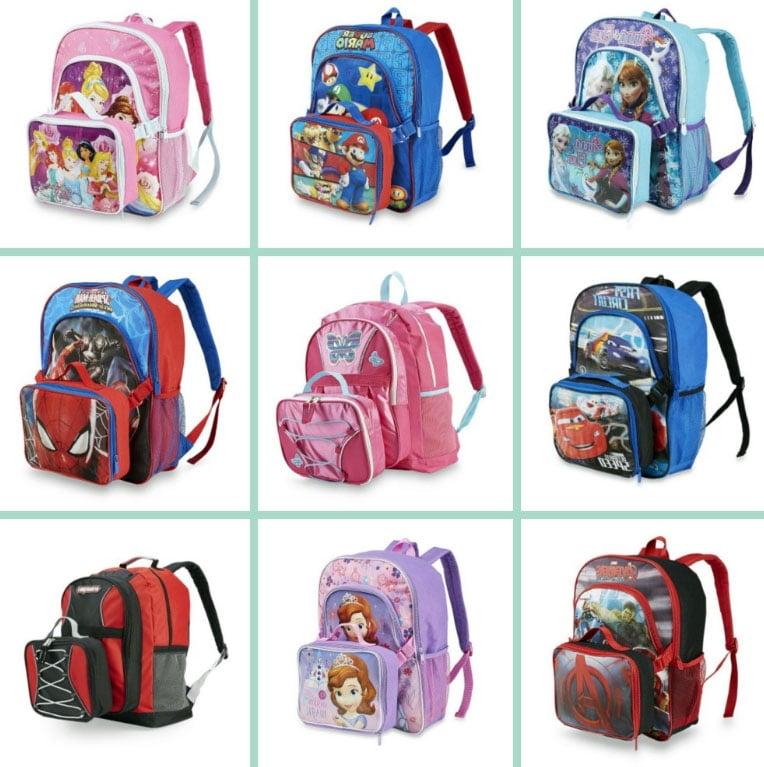 mochilas infantiles de disney, cars, frozen, mario, pincesas, spyderman con loncheras