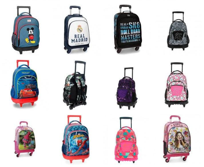 modelos de mochilas escolares con ruedas de distintos diseños